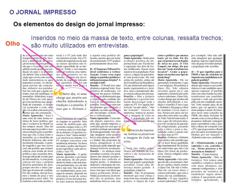 O JORNAL IMPRESSO Os elementos do design do jornal impresso:
