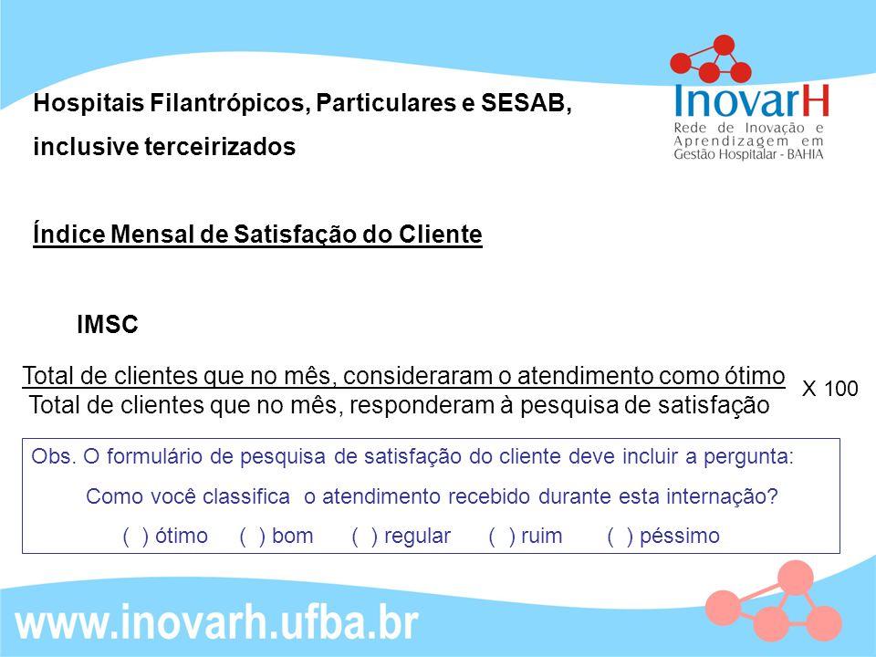 Hospitais Filantrópicos, Particulares e SESAB, inclusive terceirizados
