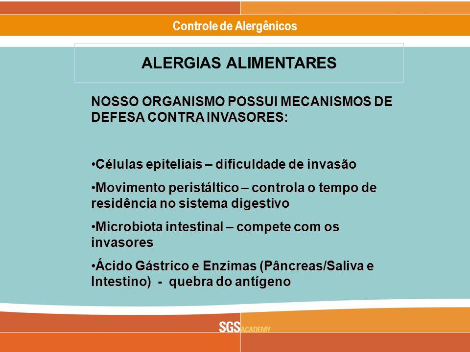 ALERGIAS ALIMENTARES NOSSO ORGANISMO POSSUI MECANISMOS DE DEFESA CONTRA INVASORES: Células epiteliais – dificuldade de invasão.