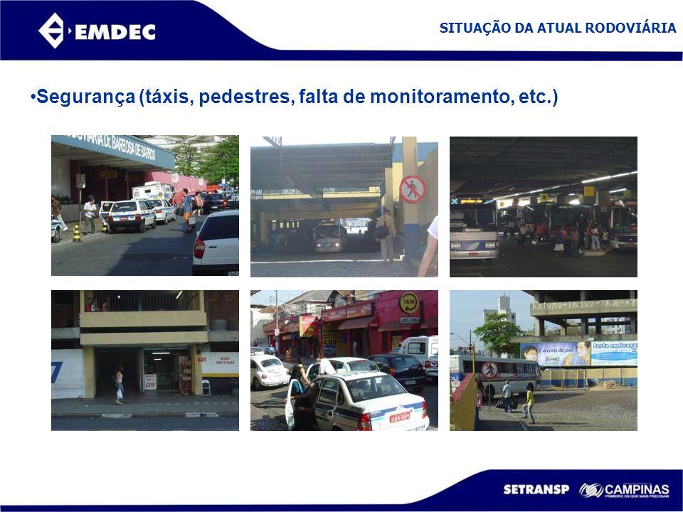 Segurança (táxis, pedestres, falta de monitoramento, etc.)