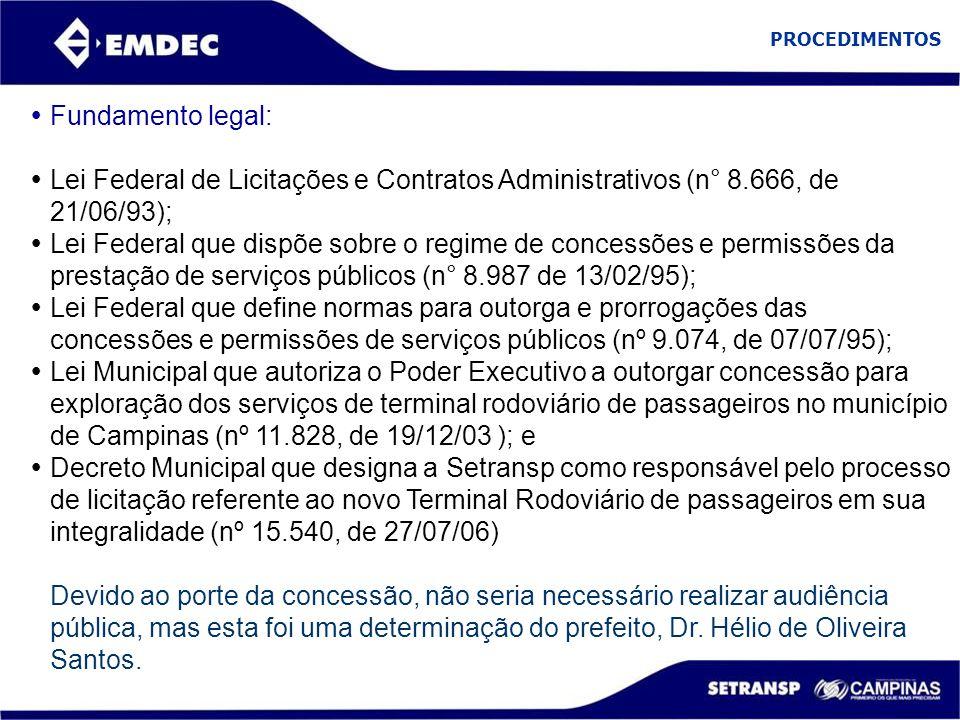 PROCEDIMENTOS Fundamento legal: Lei Federal de Licitações e Contratos Administrativos (n° 8.666, de 21/06/93);