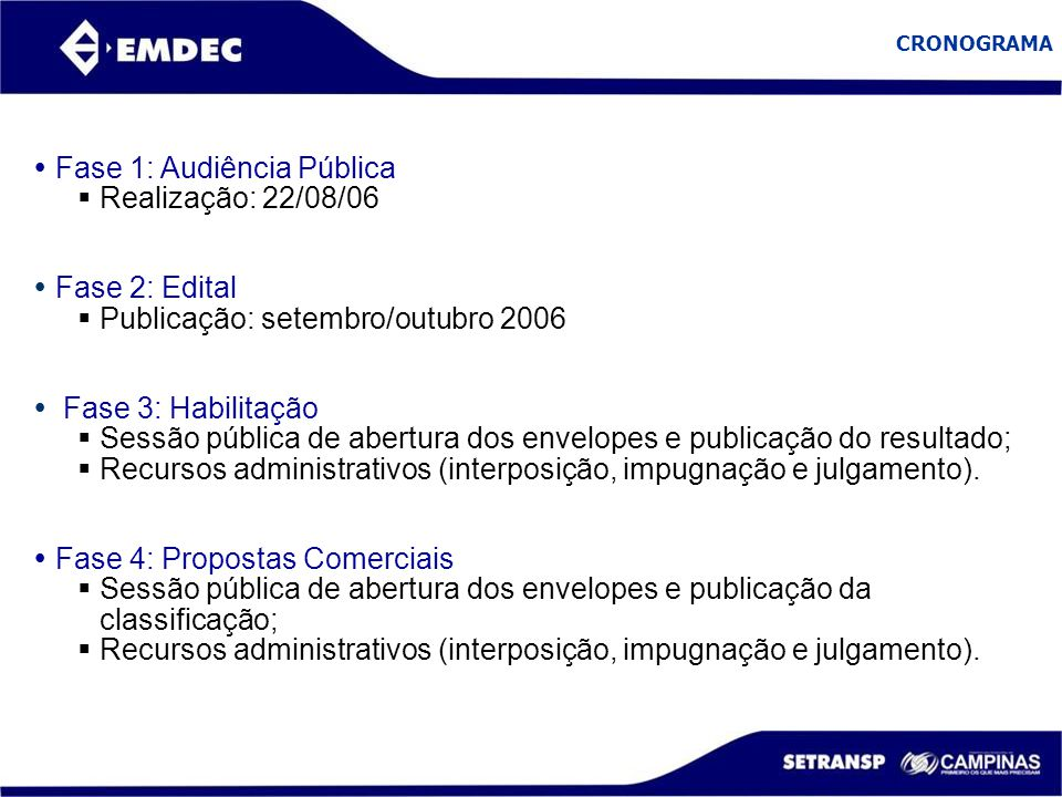 Fase 1: Audiência Pública Realização: 22/08/06
