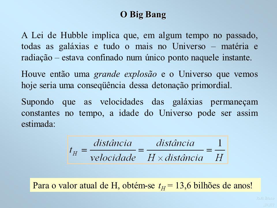 Para o valor atual de H, obtém-se tH = 13,6 bilhões de anos!