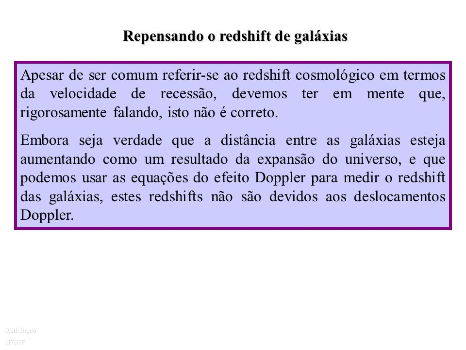 Repensando o redshift de galáxias