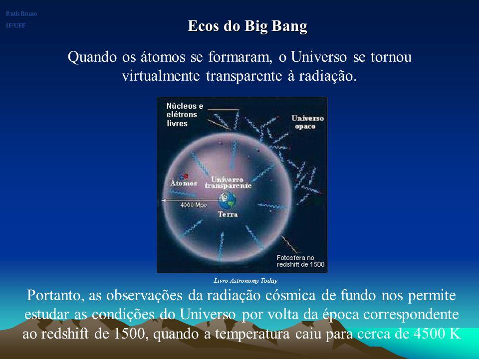 Ruth Bruno IF/UFF. Ecos do Big Bang. Quando os átomos se formaram, o Universo se tornou virtualmente transparente à radiação.
