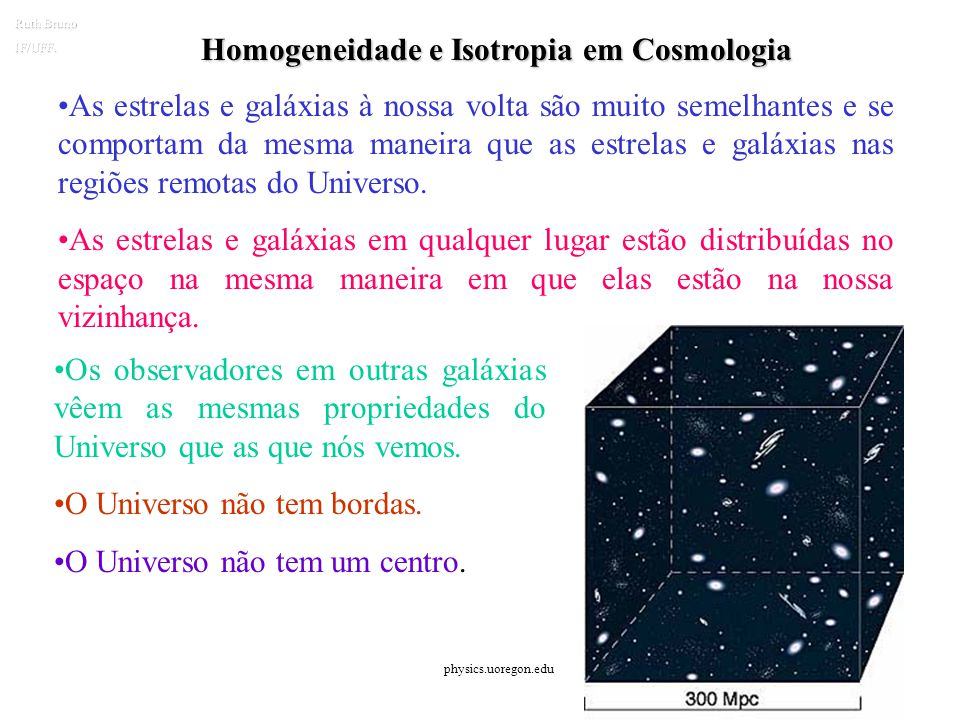 Homogeneidade e Isotropia em Cosmologia