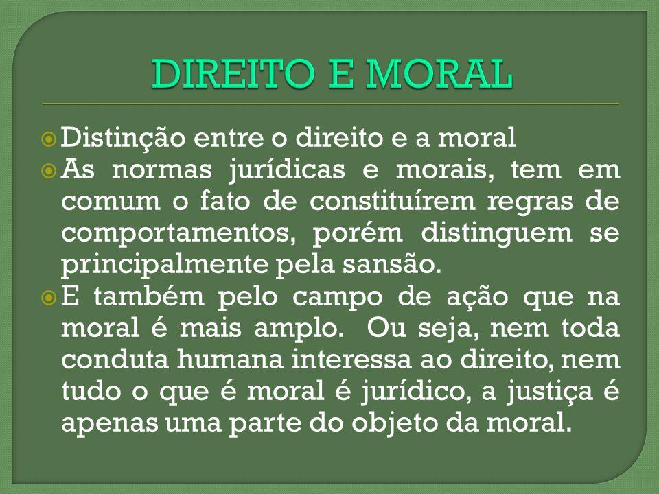 DIREITO E MORAL Distinção entre o direito e a moral