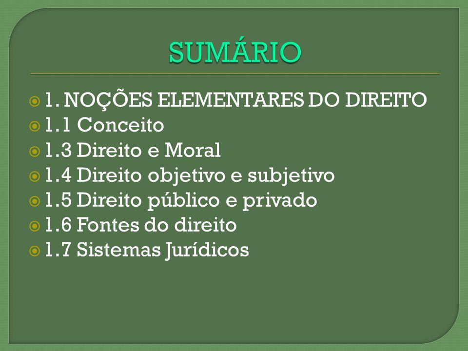 SUMÁRIO 1. NOÇÕES ELEMENTARES DO DIREITO 1.1 Conceito