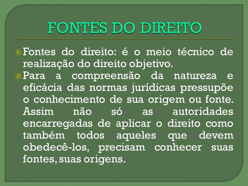 FONTES DO DIREITO Fontes do direito: é o meio técnico de realização do direito objetivo.