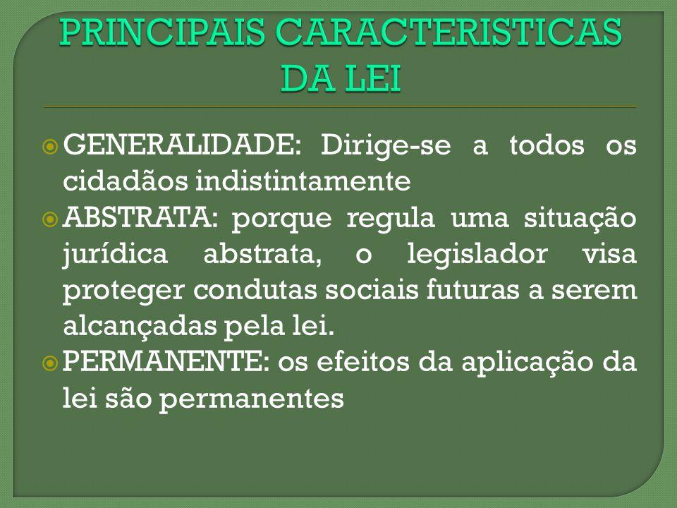 PRINCIPAIS CARACTERISTICAS DA LEI