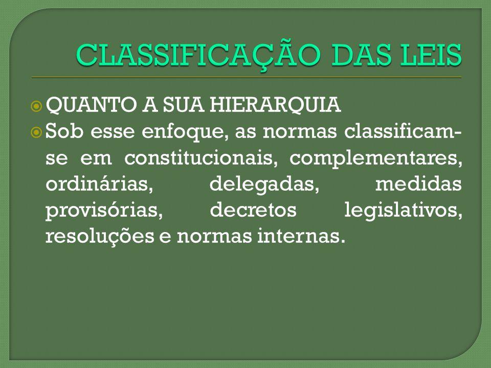 CLASSIFICAÇÃO DAS LEIS