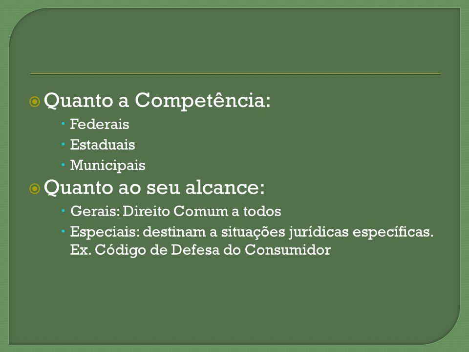Quanto a Competência: Quanto ao seu alcance: Federais Estaduais