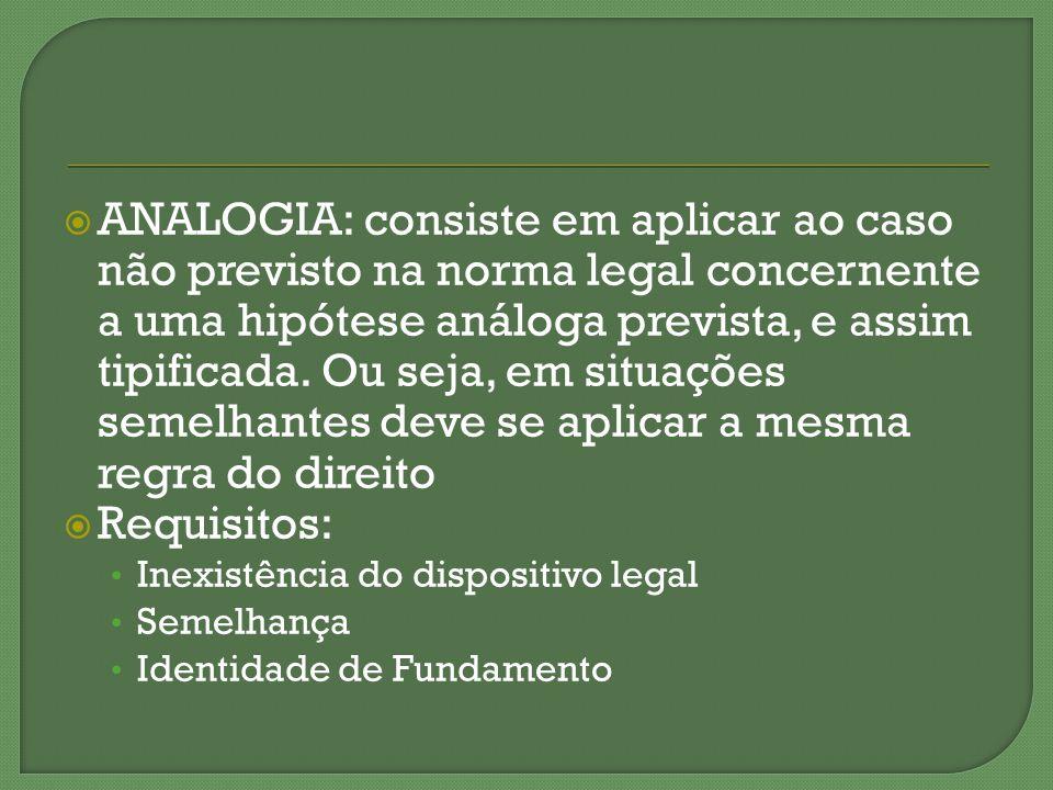 ANALOGIA: consiste em aplicar ao caso não previsto na norma legal concernente a uma hipótese análoga prevista, e assim tipificada. Ou seja, em situações semelhantes deve se aplicar a mesma regra do direito