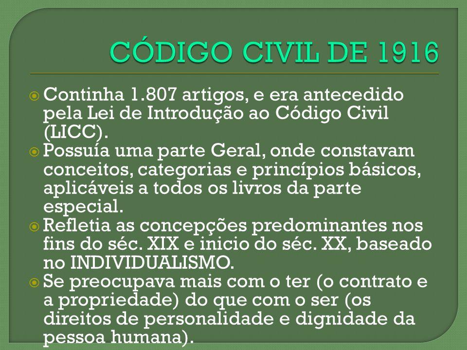 CÓDIGO CIVIL DE 1916 Continha 1.807 artigos, e era antecedido pela Lei de Introdução ao Código Civil (LICC).