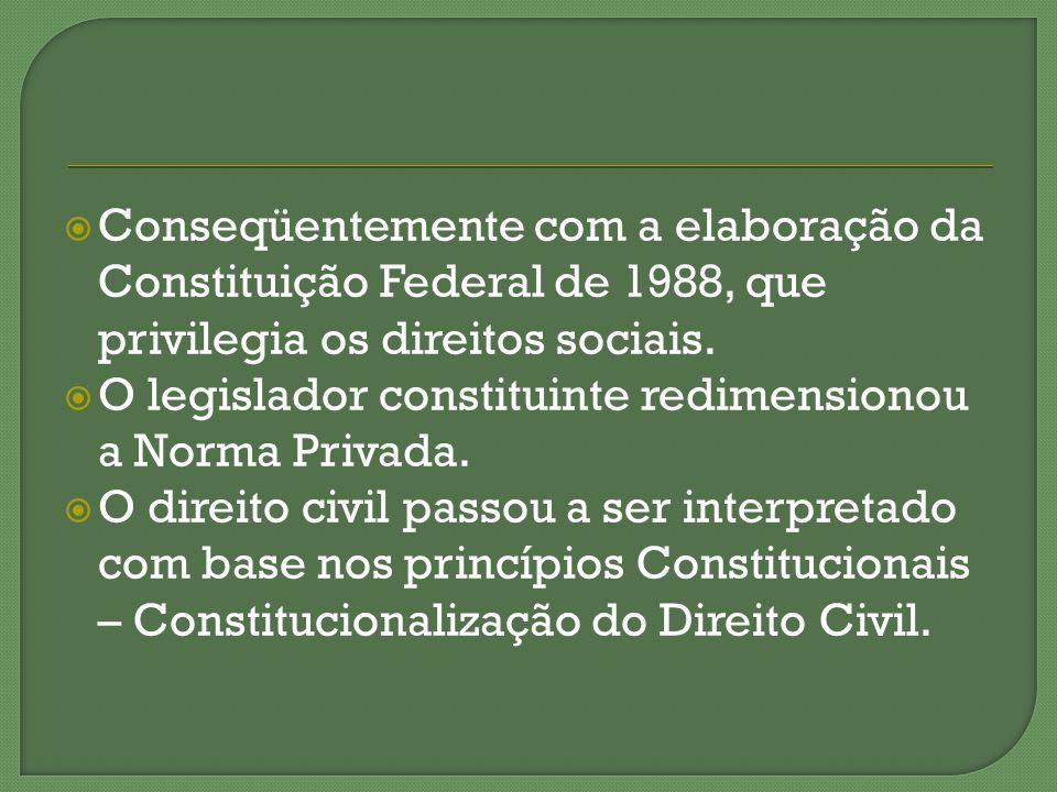 Conseqüentemente com a elaboração da Constituição Federal de 1988, que privilegia os direitos sociais.