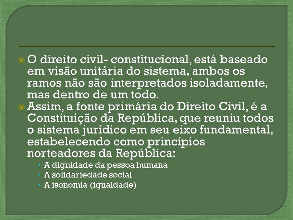 O direito civil- constitucional, está baseado em visão unitária do sistema, ambos os ramos não são interpretados isoladamente, mas dentro de um todo.