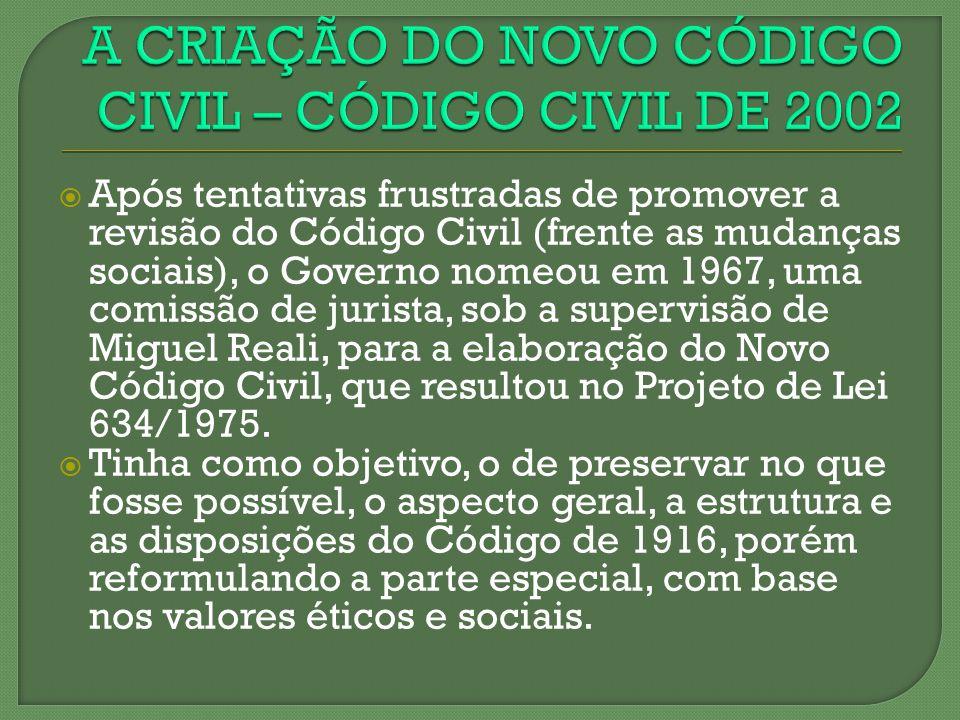 A CRIAÇÃO DO NOVO CÓDIGO CIVIL – CÓDIGO CIVIL DE 2002