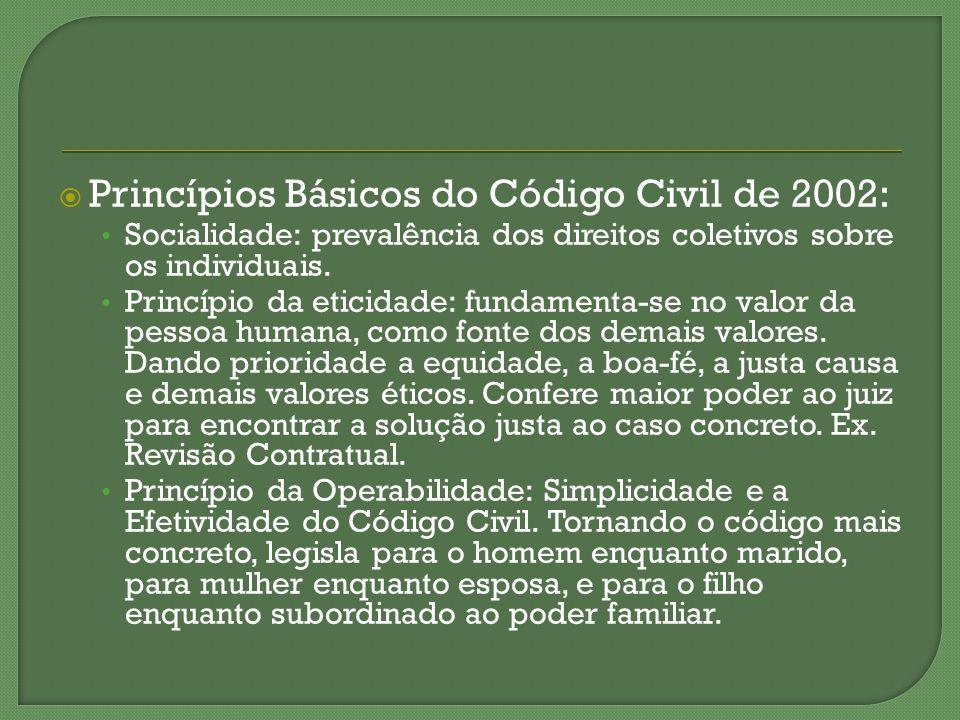 Princípios Básicos do Código Civil de 2002: