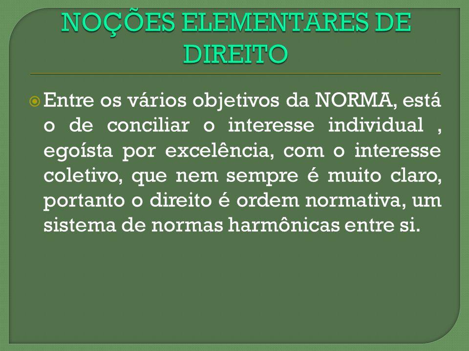 NOÇÕES ELEMENTARES DE DIREITO