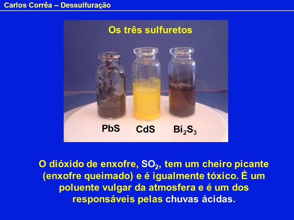 Os três sulfuretos PbS. CdS. Bi2S3.