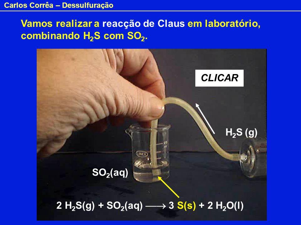 Vamos realizar a reacção de Claus em laboratório, combinando H2S com SO2.