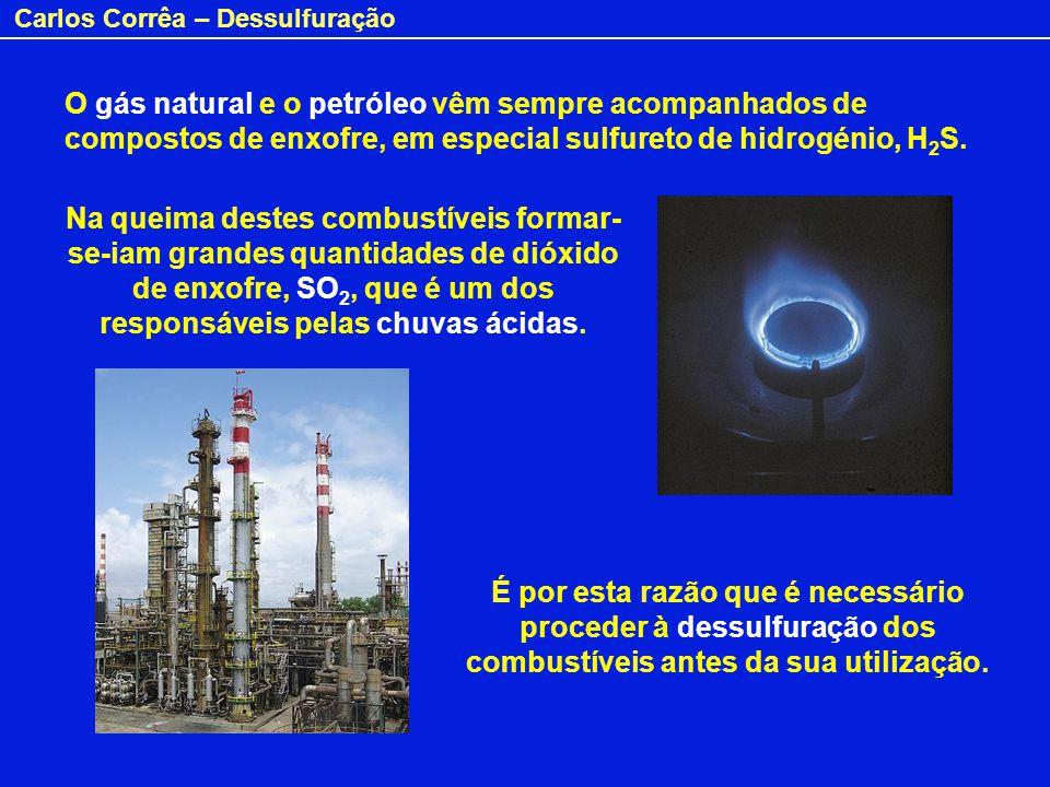 O gás natural e o petróleo vêm sempre acompanhados de compostos de enxofre, em especial sulfureto de hidrogénio, H2S.
