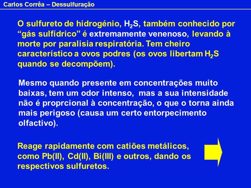 O sulfureto de hidrogénio, H2S, também conhecido por gás sulfídrico é extremamente venenoso, levando à morte por paralisia respiratória. Tem cheiro característico a ovos podres (os ovos libertam H2S quando se decompõem).