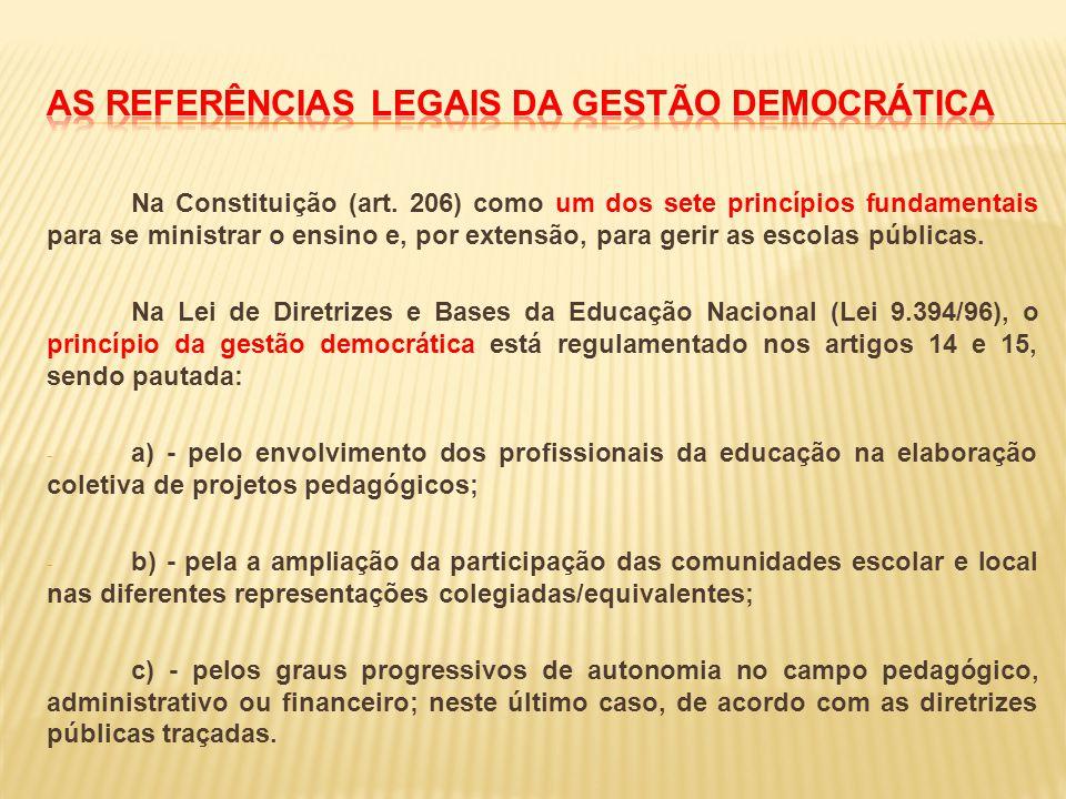 As referências legais da gestão democrática
