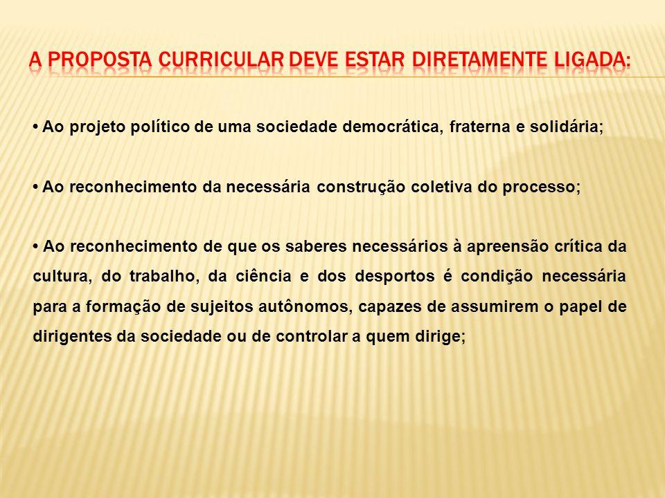 a proposta curricular deve estar diretamente ligada: