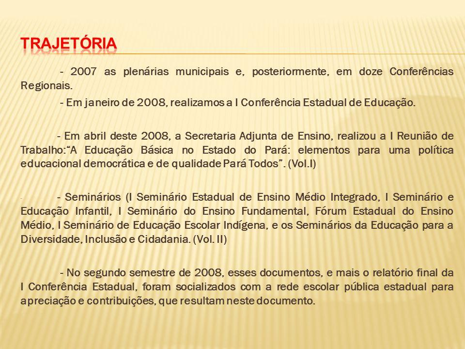 - Em janeiro de 2008, realizamos a I Conferência Estadual de Educação.