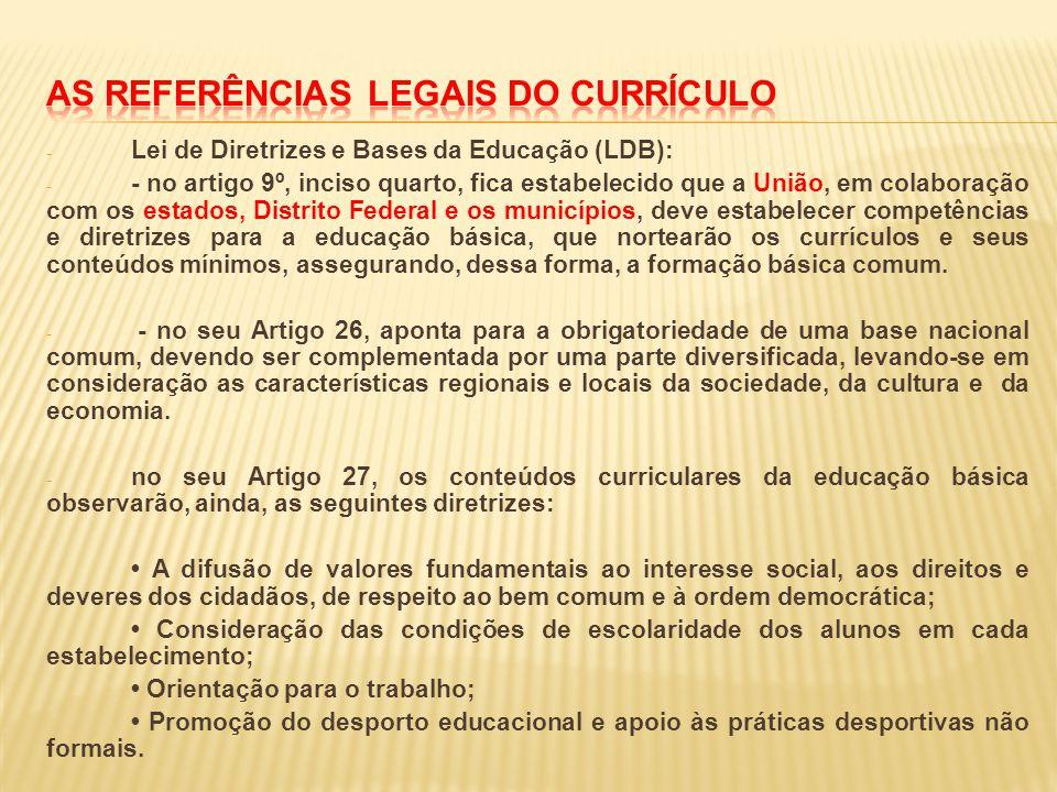 As referências legais do currículo
