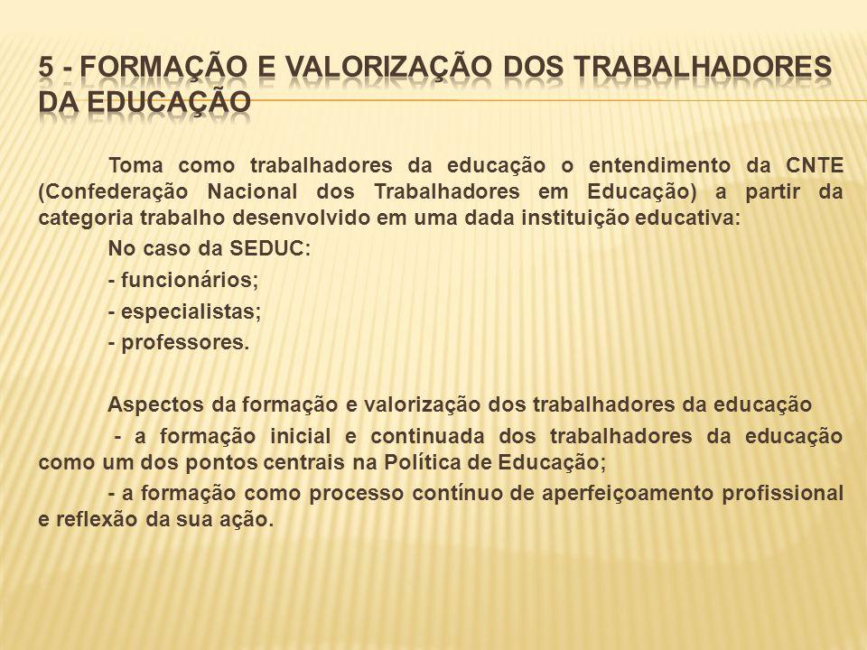 5 - FORMAÇÃO E VALORIZAÇÃO DOS TRABALHADORES DA EDUCAÇÃO