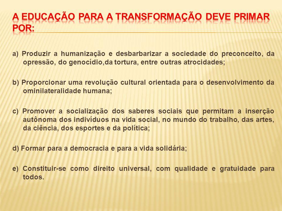 A educação para a transformação deve primar por: