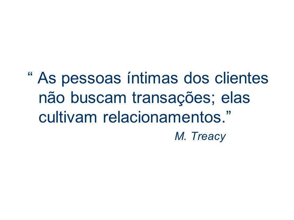 As pessoas íntimas dos clientes não buscam transações; elas cultivam relacionamentos.
