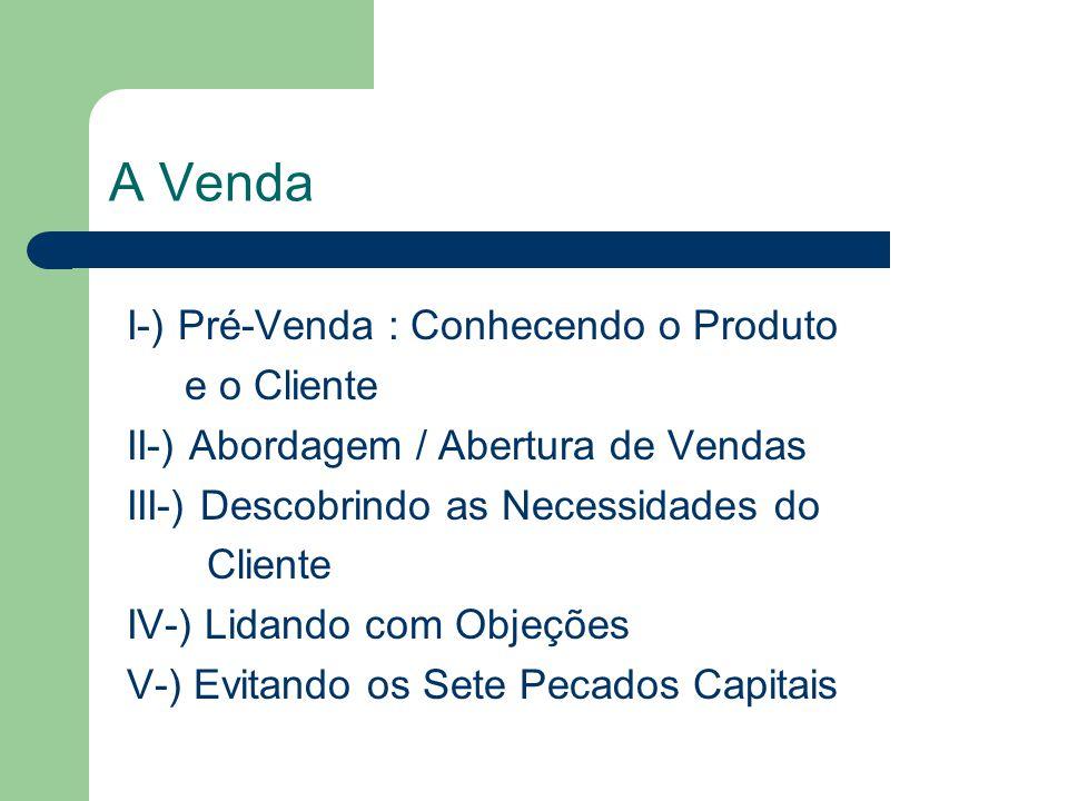 A Venda I-) Pré-Venda : Conhecendo o Produto e o Cliente