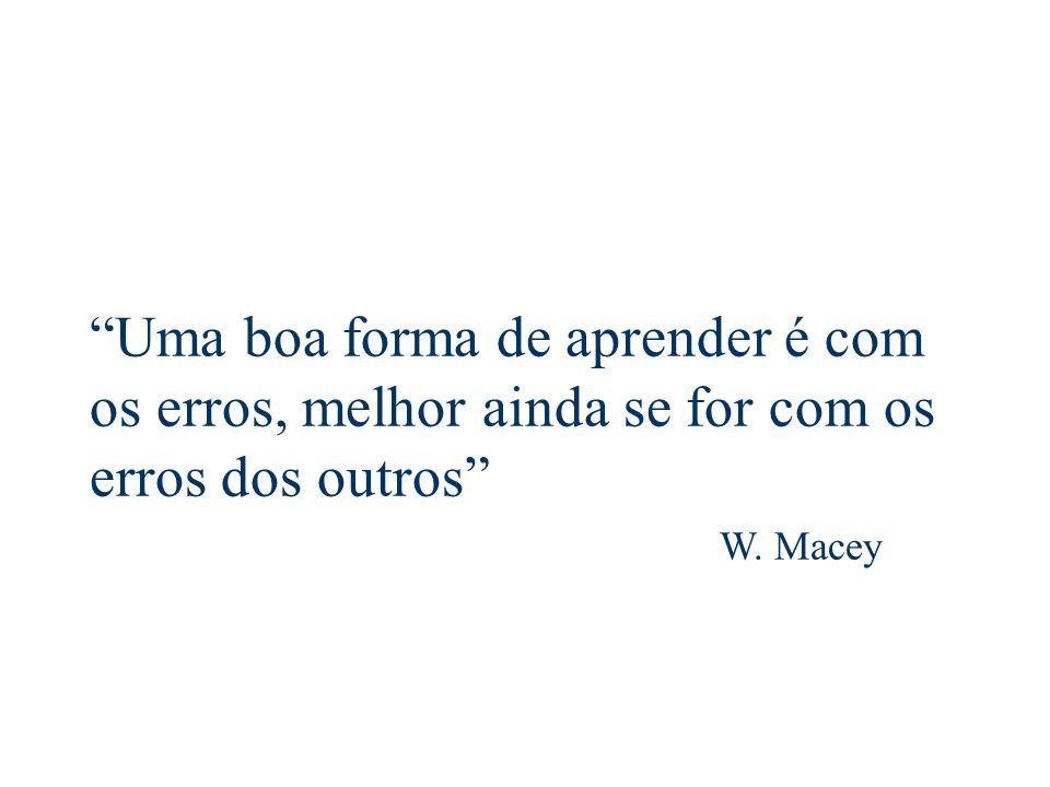 Uma boa forma de aprender é com os erros, melhor ainda se for com os erros dos outros W. Macey