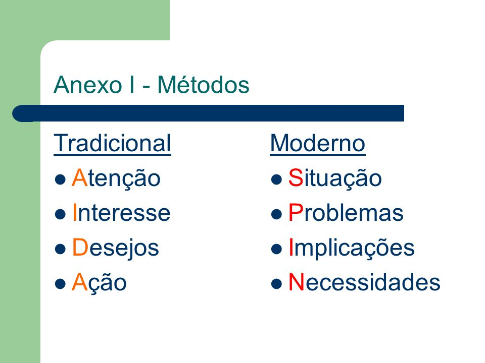 Anexo I - Métodos Tradicional. Atenção. Interesse. Desejos. Ação. Moderno. Situação. Problemas.