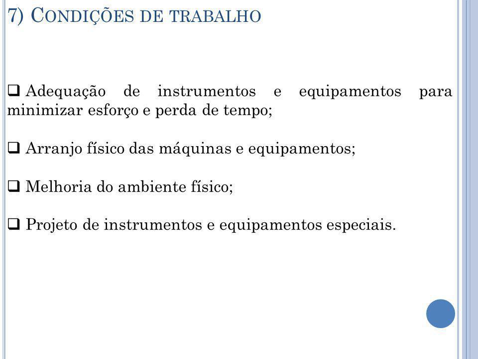7) Condições de trabalho