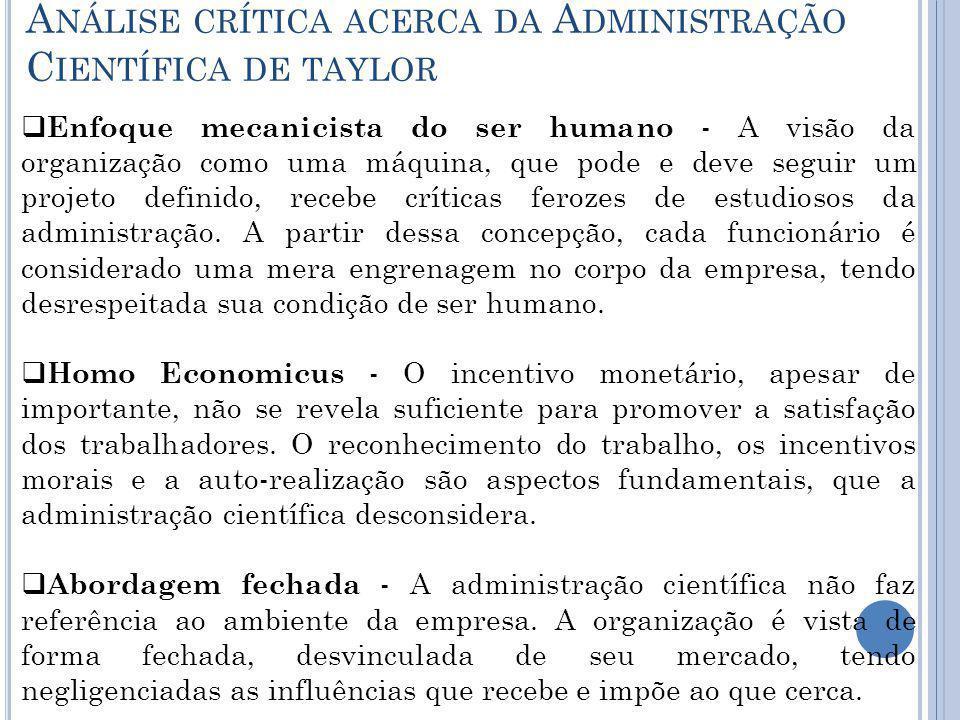 Análise crítica acerca da Administração Científica de taylor
