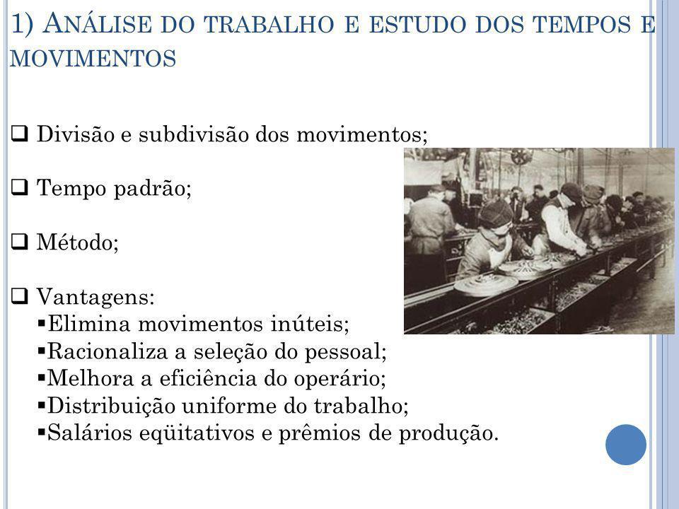 1) Análise do trabalho e estudo dos tempos e movimentos