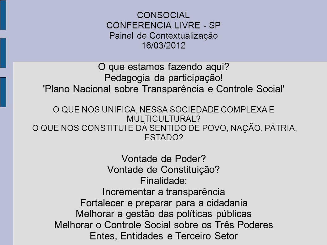 CONSOCIAL CONFERENCIA LIVRE - SP Painel de Contextualização 16/03/2012