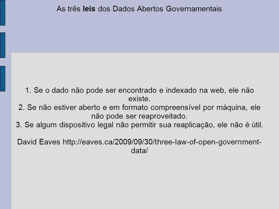 As três leis dos Dados Abertos Governamentais