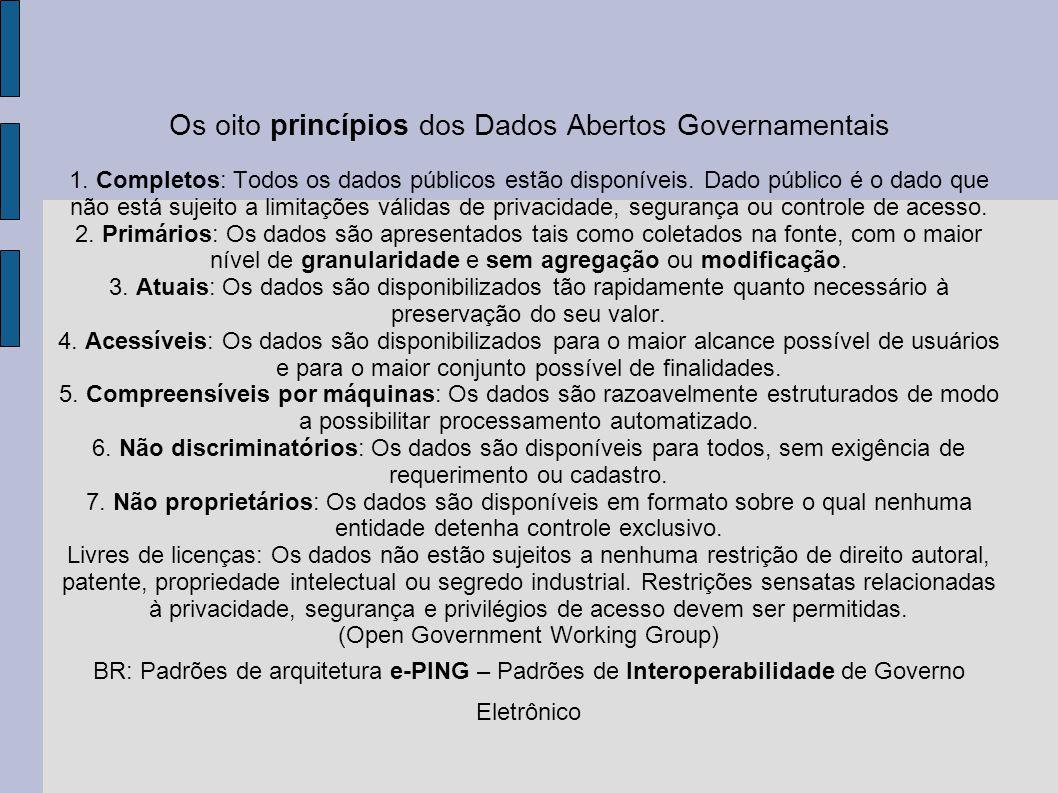 Os oito princípios dos Dados Abertos Governamentais