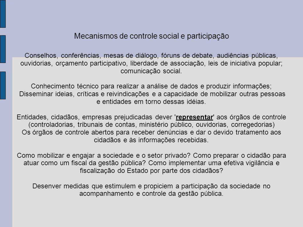 Mecanismos de controle social e participação
