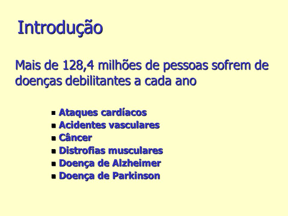 Introdução Mais de 128,4 milhões de pessoas sofrem de doenças debilitantes a cada ano. Ataques cardíacos.