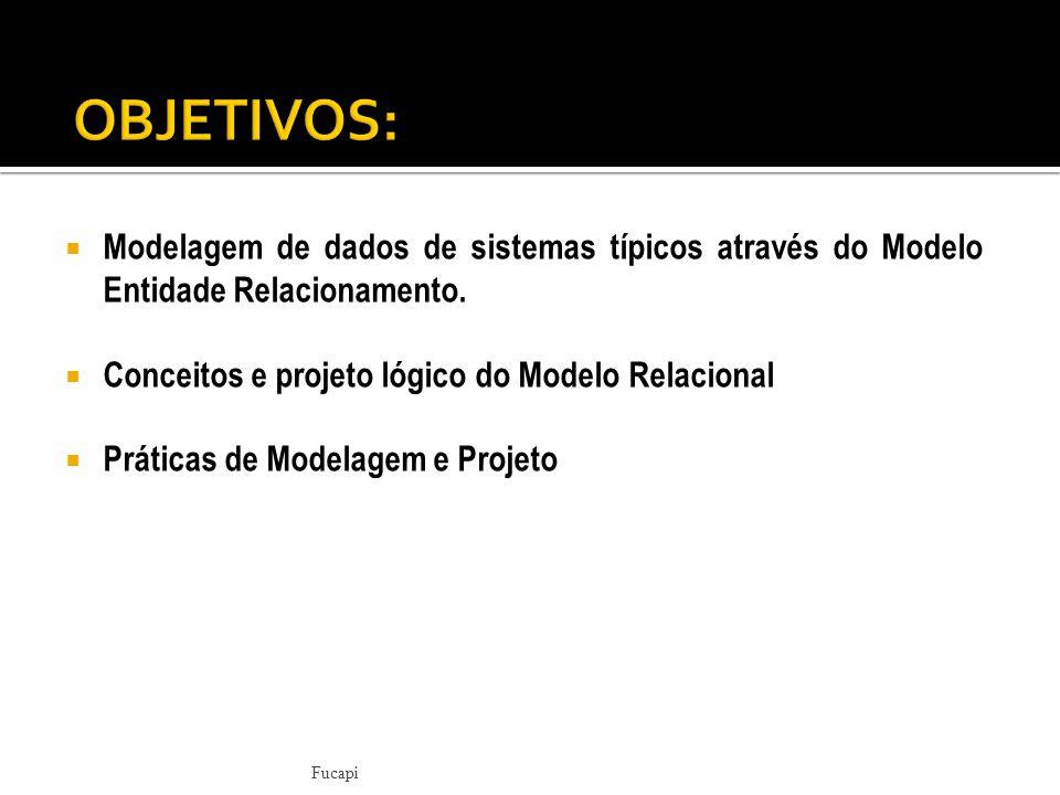 OBJETIVOS: Modelagem de dados de sistemas típicos através do Modelo Entidade Relacionamento. Conceitos e projeto lógico do Modelo Relacional.