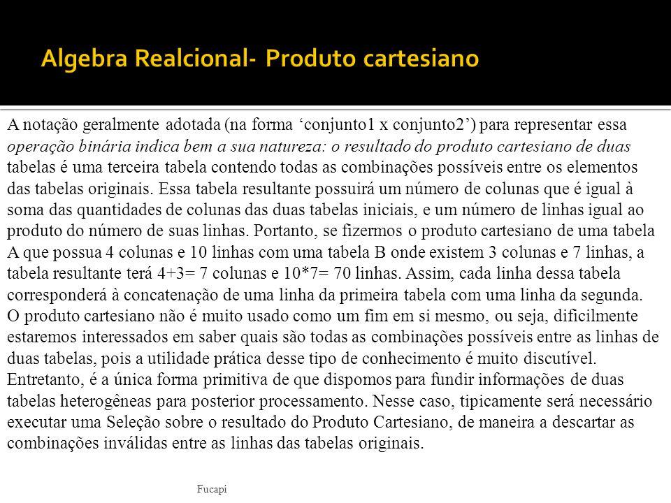Algebra Realcional- Produto cartesiano