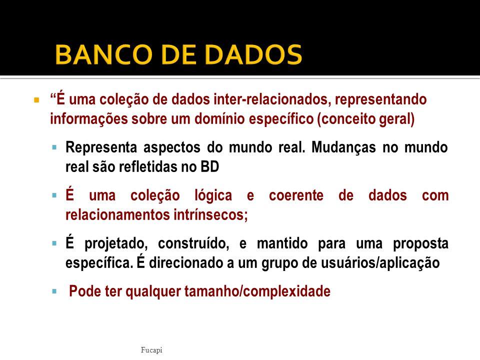 BANCO DE DADOS É uma coleção de dados inter-relacionados, representando informações sobre um domínio específico (conceito geral)