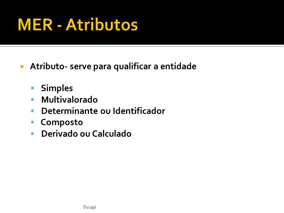MER - Atributos Atributo- serve para qualificar a entidade Simples