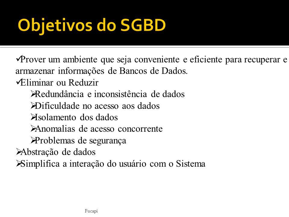 Objetivos do SGBD Prover um ambiente que seja conveniente e eficiente para recuperar e armazenar informações de Bancos de Dados.